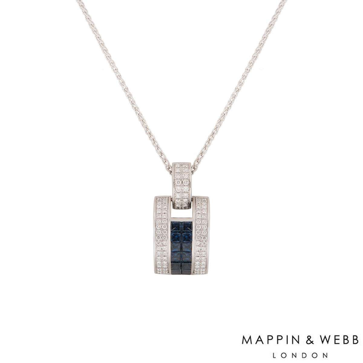 Mappin & Webb White Gold Diamond and Sapphire Pendant